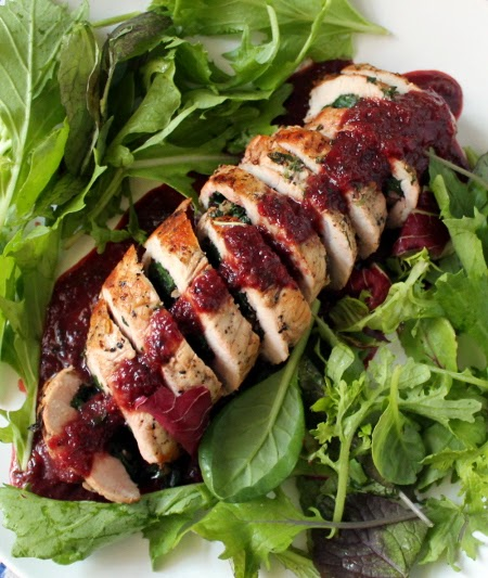 Pork roulade with beet greens and plum-thyme sauce