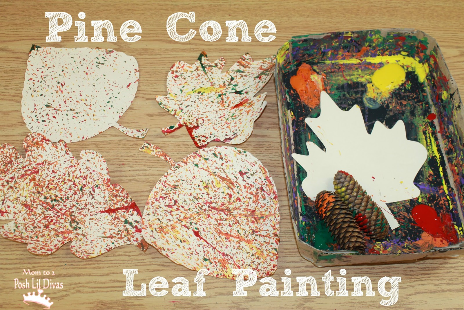 Pine cone leaf painting for Pine cone art projects