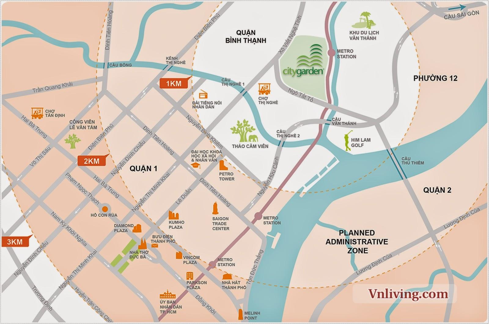 Bản đồ vị trí của City Garden