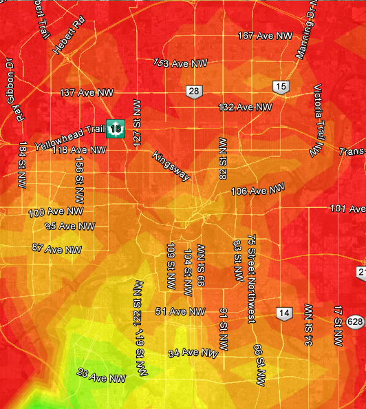 Edmonton Transit heat map based on Windermere