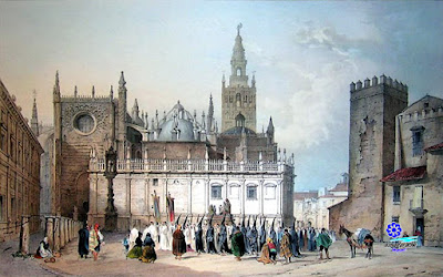 Sevilla - Vista de la Catedral desde la plaza del Triunfo - Nicolas Chapuy - 1844