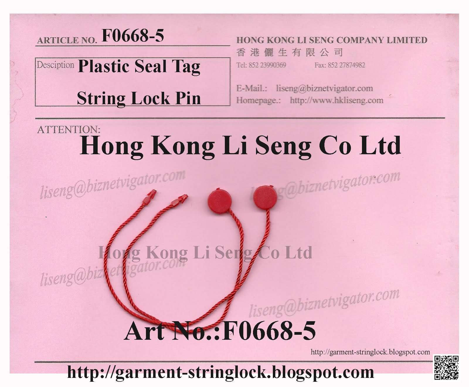 Red Plastic Hang Tag Cord String Lock Pin