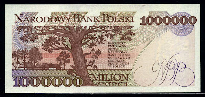 Poland currency 1000000 Zlotych złoty Polish banknotes