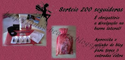 Sorteio 200 seguidoras do blog