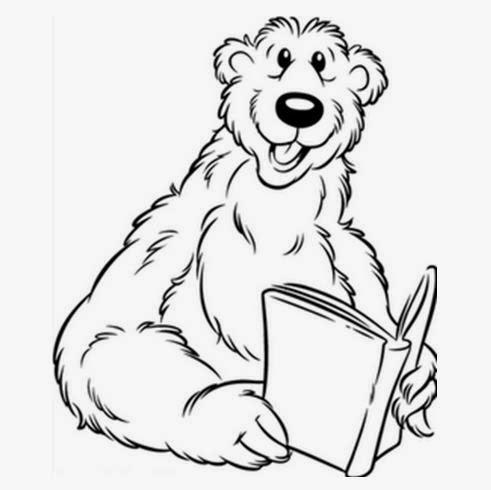 Desenhos de Ursinhos para colorir - Lendo - Desenhos para colorir