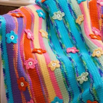 Stripes & Flowers Throw - Free Pattern
