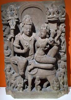 Uma-Maheshwar; stone carving from Karnataka.