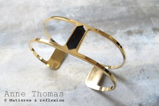 Bracelet manchette doré noir Anne Thomas