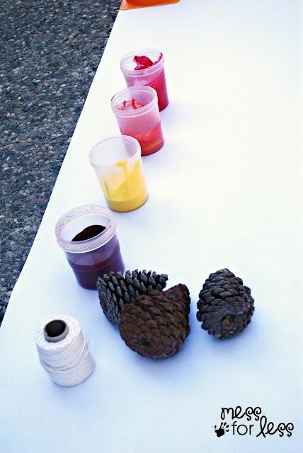 Pine cone drip art