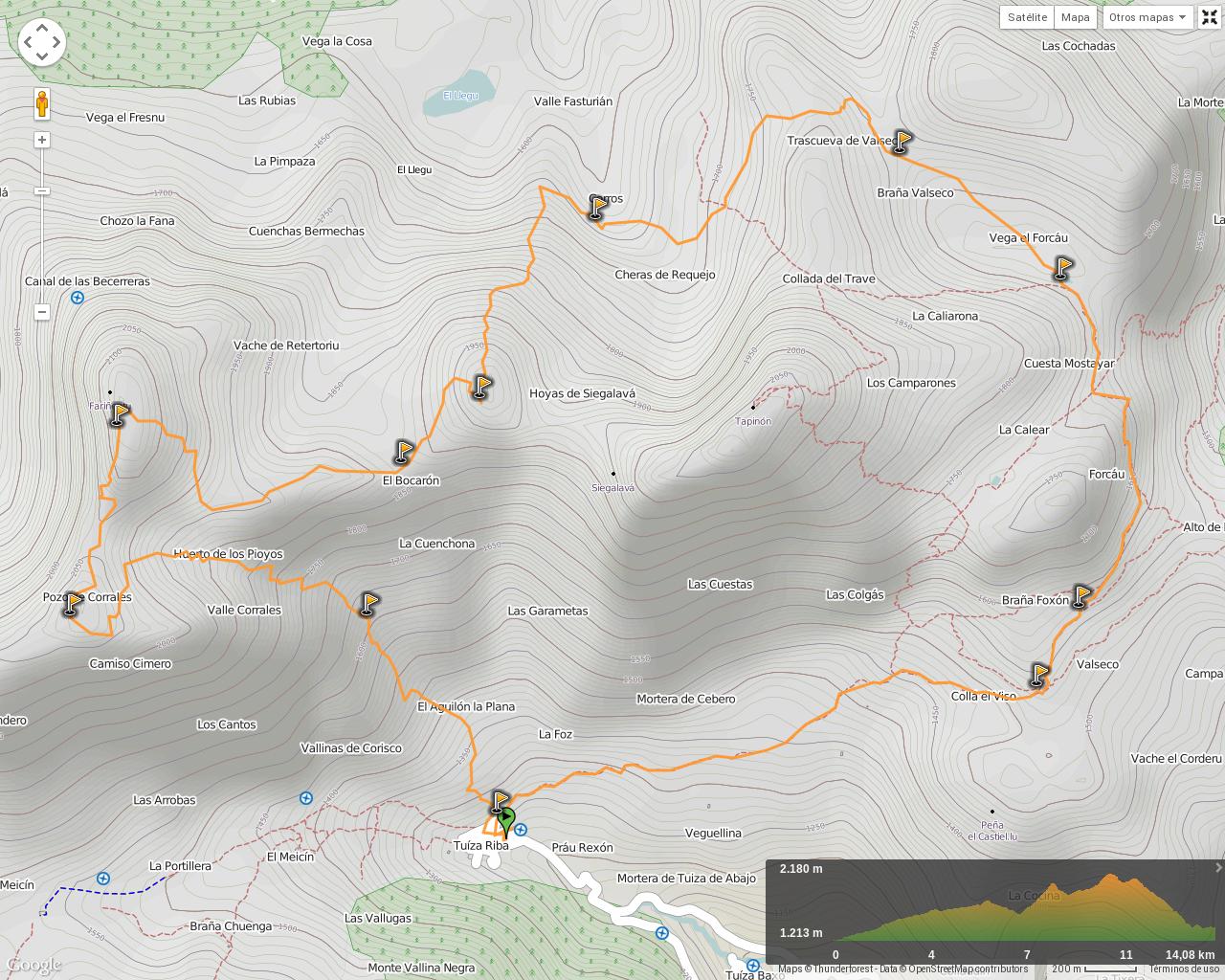Ruta Tuiza Fariñentu Peña Chana: Mapa de la ruta