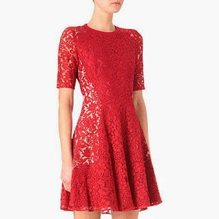 Red Lace Agnes Dress by Joseph