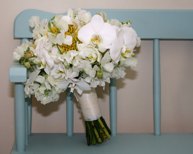 Bride's Bouquet Phalaenopsis Orchids & Protea - Splendid Stems Floral Designs