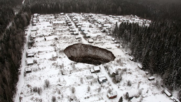 Giant Sinkhole Swallows Up Old Mine in Russia's Urals