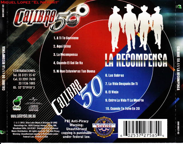 Calibre 50 - La Recompensa CD Album Oficial 2013