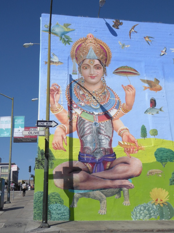 John Vochatzer Saraswati collage wall mural San Francisco