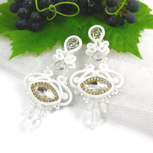 Kolczyki ślubne z kryształami Swarovski