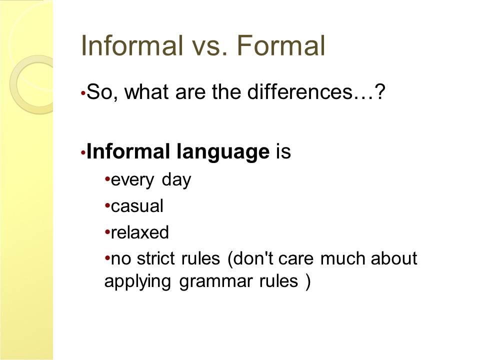English and ESOL Lab Workshops: Formal vs Informal Writing (Vickie ...