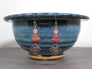 cherry quartz & copper earrings