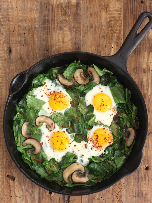 Skillet Collards with Mushrooms and Eggs recipe by SeasonWithSpice.com