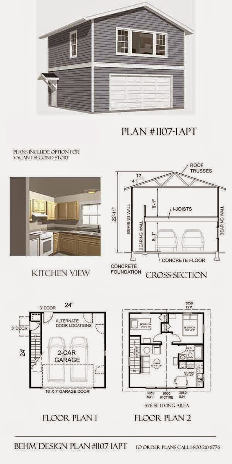 Garage plans blog behm design garage plan examples for 24 x 24 apartment layout