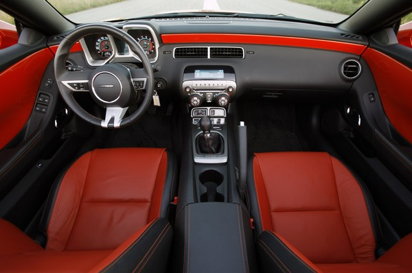 Red and black leather interior of 2011 Chevrolet Camaro SS Convertible