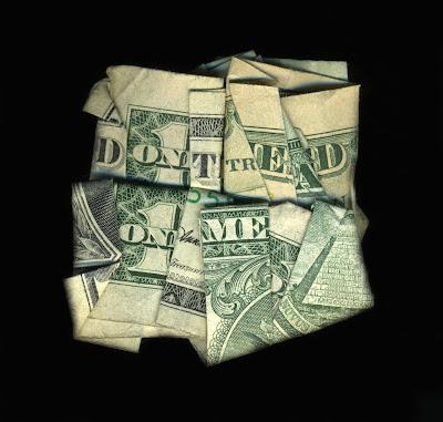 money art, folded money, don't tread on me