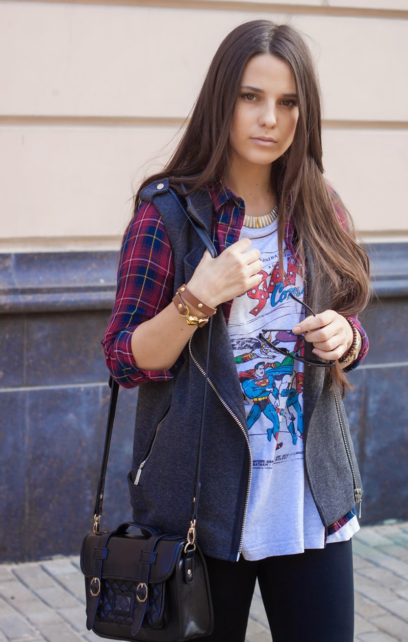 girl, fashion, checkered, vest, marvel