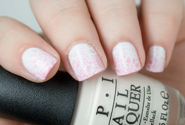 Soft gradient nail art with some stamping the nailasaurus uk pink to white gradient nail art prinsesfo Choice Image