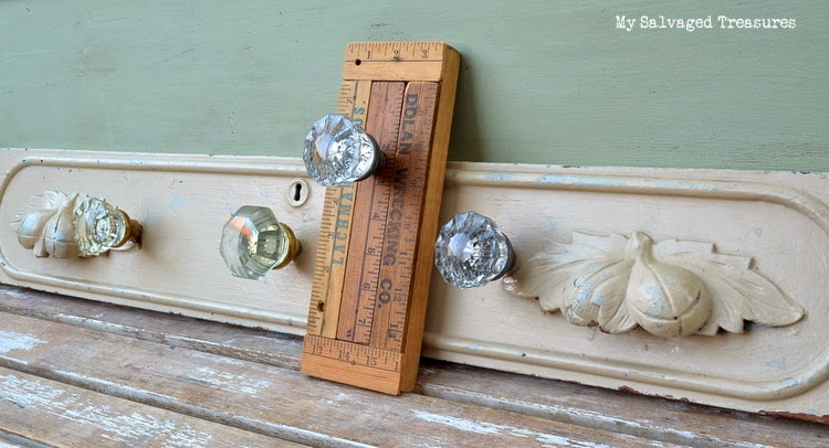 vintage glass door knobs repurposed coat hanger vintage yardsticks