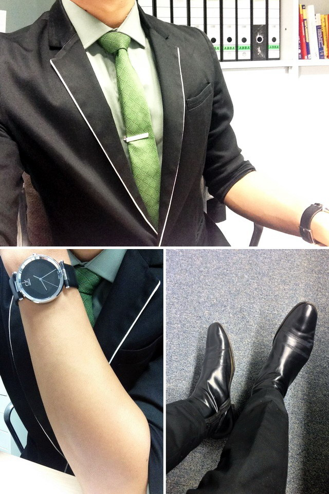 Jimmy Choo boots, Calvin Klein watch, River Island shirt, Sub jacket, The Tie Bar, officewear, office attire for men, G2000 tie