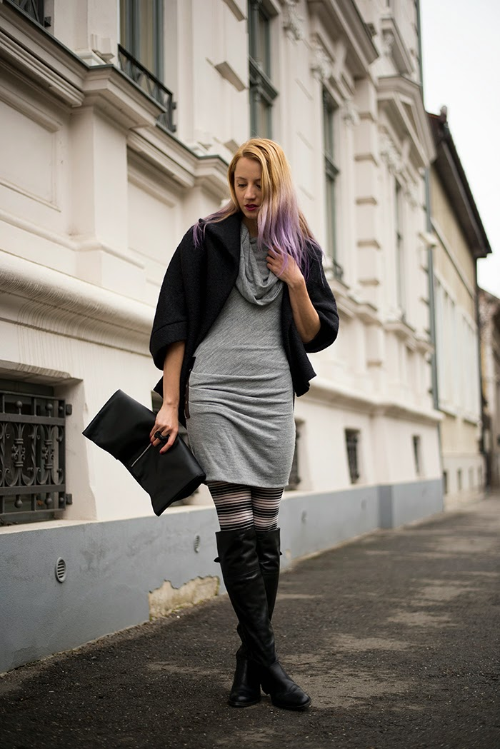 Skinny Buddha cocoon coat striped tights gray dress