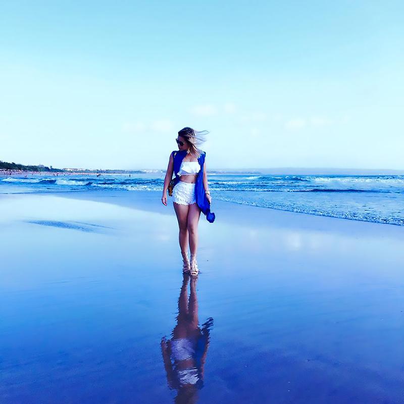 Crystal Phuong- walking by the beach- Seminyak, Bali