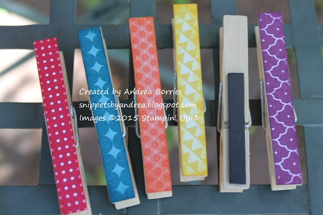 Magnetic clothespin clips decorated with Summer Smooches DSP and coordinating ink sponged on the edges.