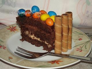 torta di cioccolato con cascata di m&m