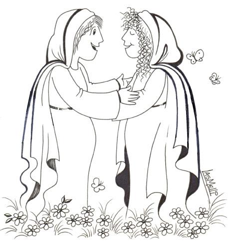 Mary Visits Elizabeth Coloring Page. EREALCALA: VISITACIÓN DE MARÍA ...