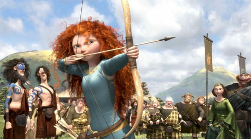 Merida shooting her arrow at the marriage competition in Brave 2012 animatedfilmreviews.filminspector.com