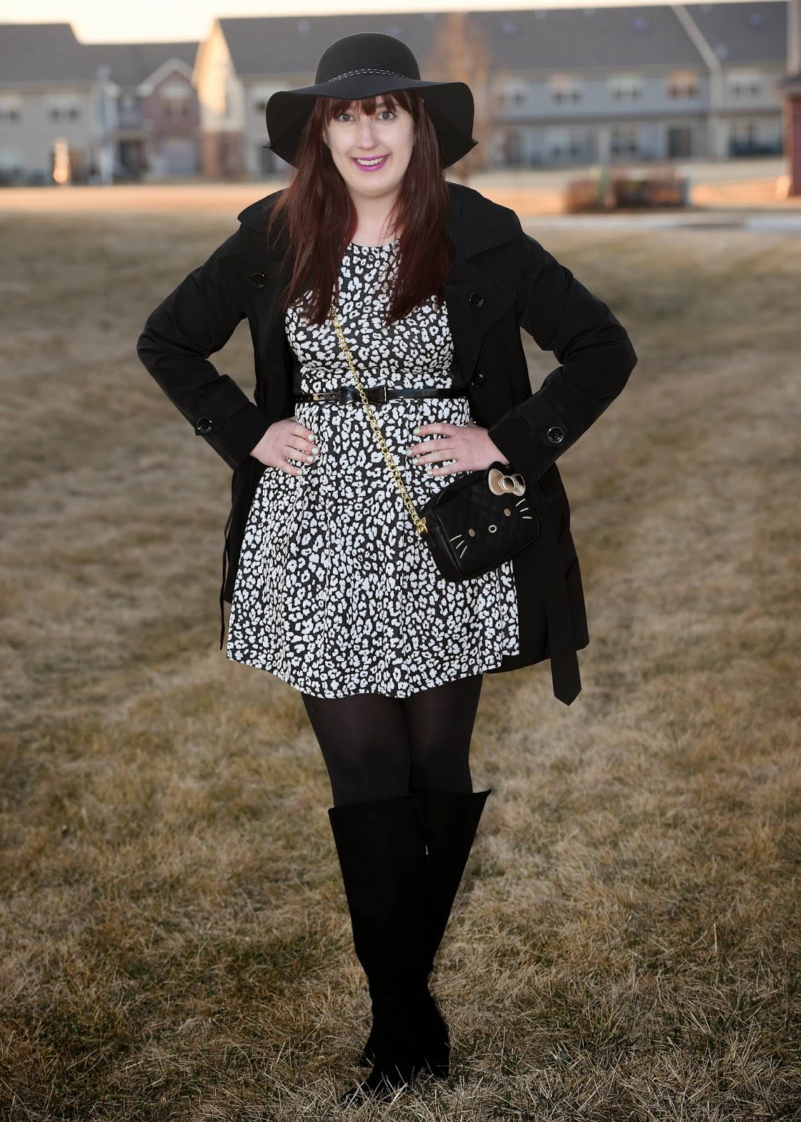 Samantha Chic AMI Clubwear dresses HM Hello Kitty layering London Fog over the knee boots Spring break Style tights transitional layers