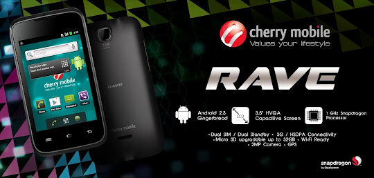 Cherry Mobile Rave: 1GHz Snapdragon, Dual-SIM, Gingerbread Android for Php 3,299 only