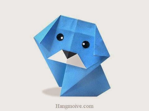 Cách gấp, xếp con Chó con bằng giấy origami - Video hướng dẫn xếp hình - How to make a Dog
