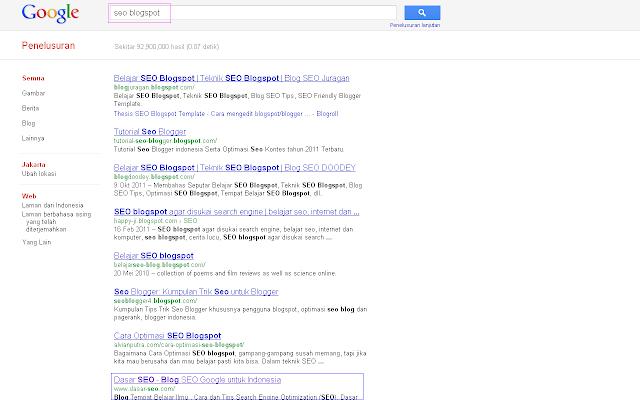 Hasil 10 Besar SERP Google Indonesia untuk Keyword SEO Blogspot