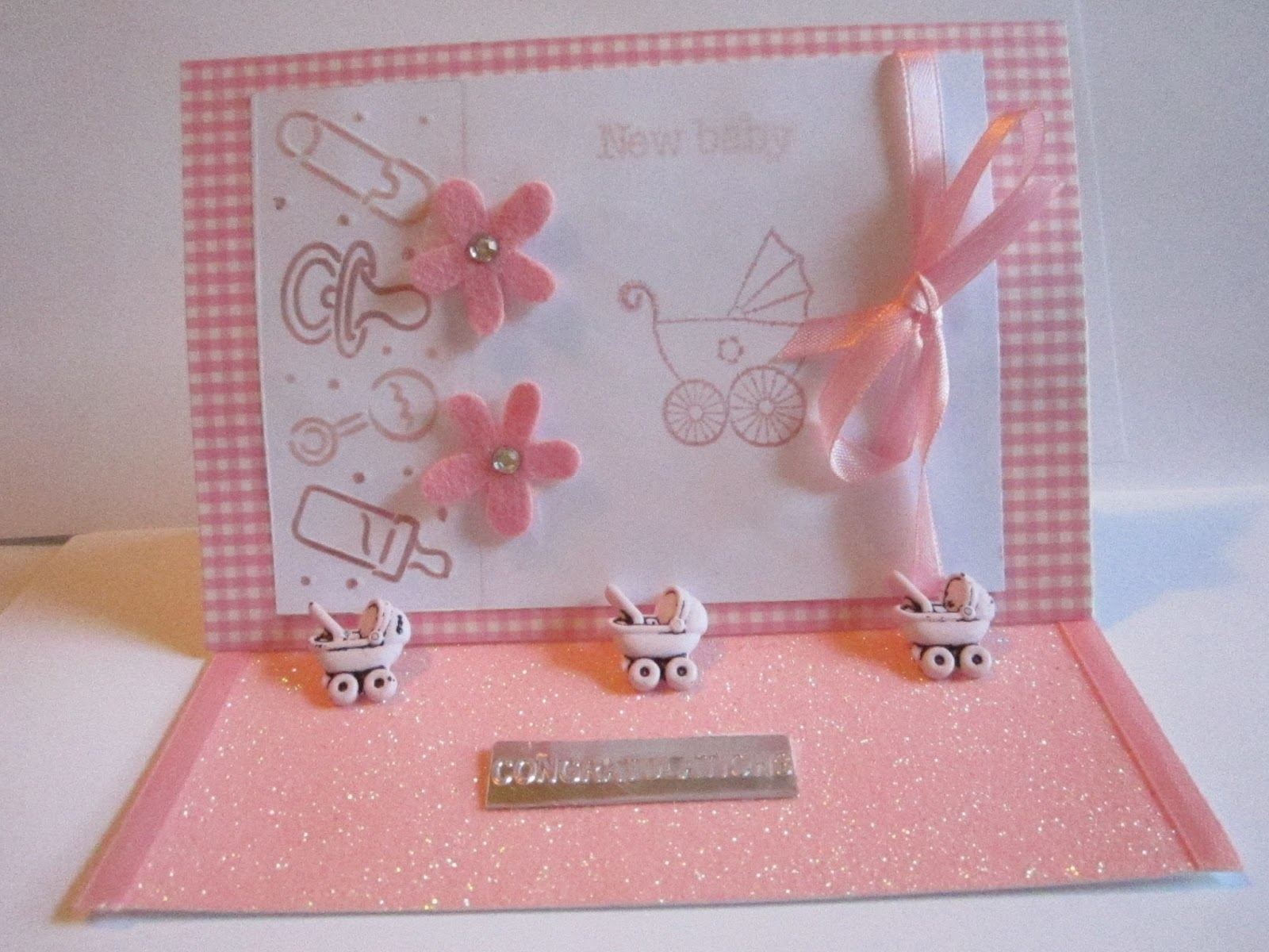 Busy Bee Makes New Baby Girl Easel Card Congratulations