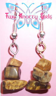 Hand Made Polished Brown Stone Earrings