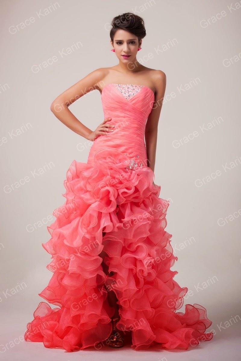 modelo de vestido sereia  com fenda coral para madrinha de debutante - fotos e modelos