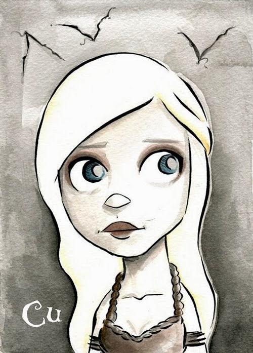 06-Game-of-Thrones-Daenerys-Targaryen-Chris-Uminga-Game-of-Thrones-Watercolours-www-designstack-co