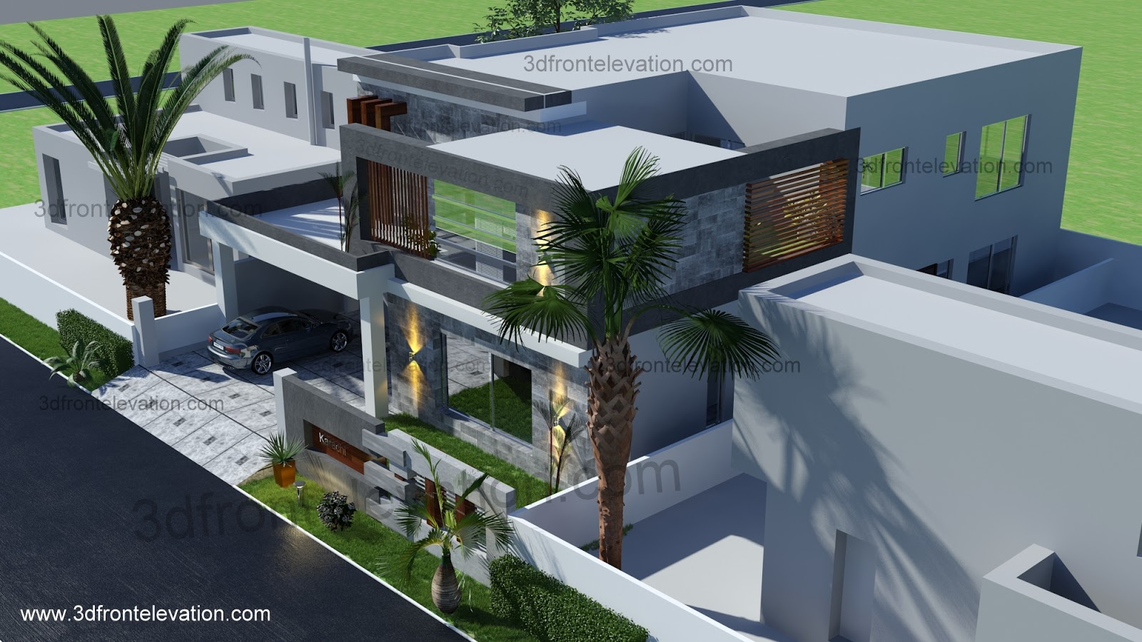Front Elevation Of House In Karachi : D front elevation yard squair meter