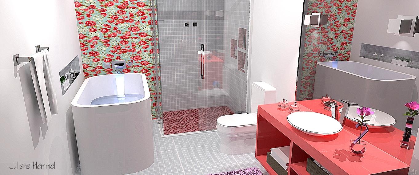 Design de Interiores e Paisagismo Portfólio de Projetos -> Banheiro Feminino Translation