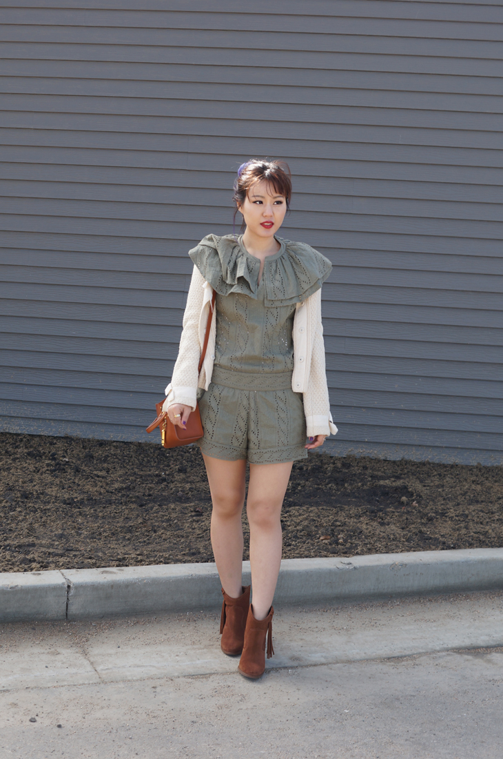Eyelet Romper and Sweater Cardigan