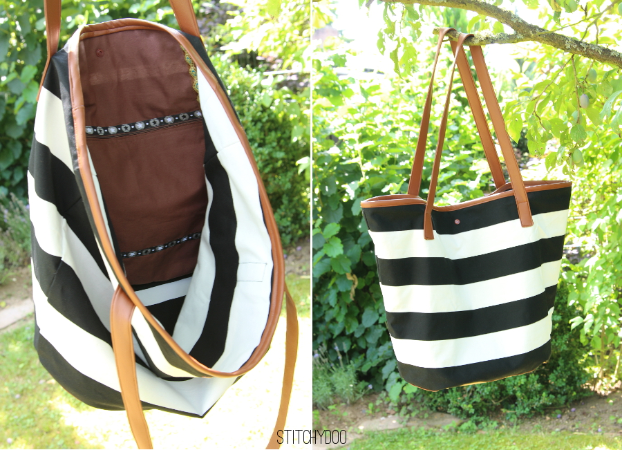 Taschenspieler 2 Markttasche - Schwarz/Weiß gestreift mit cognacfarbenem Kunstleder