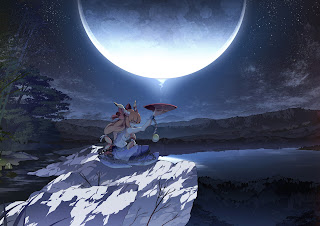 Drinking Sake Night Full Moon Lake Girl Anime HD Wallpaper Desktop PC Background 1830