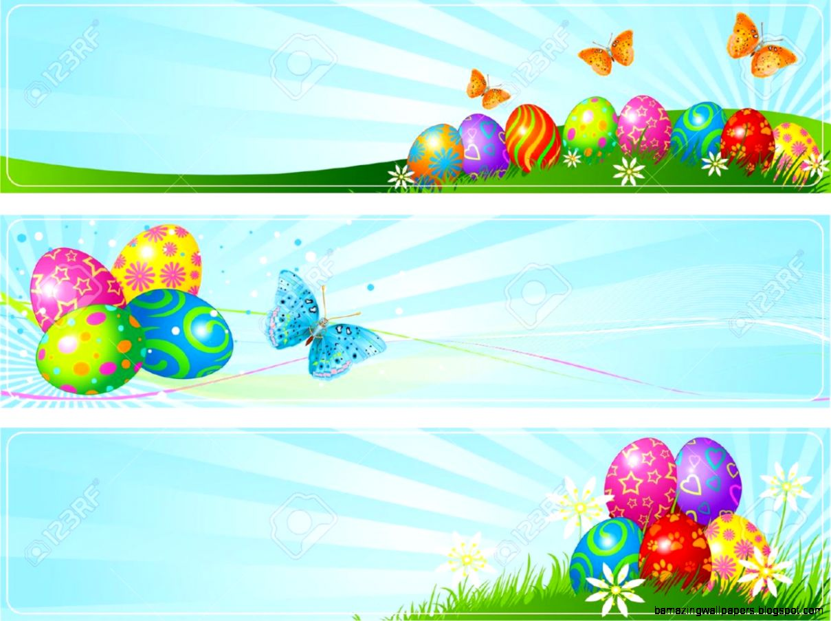 Illustrated Set Of Three Different Easter Banners Royalty Free